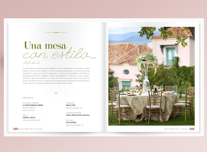 Maqueta para articulo de la revista Tendencias Magazine por The Visual Corner