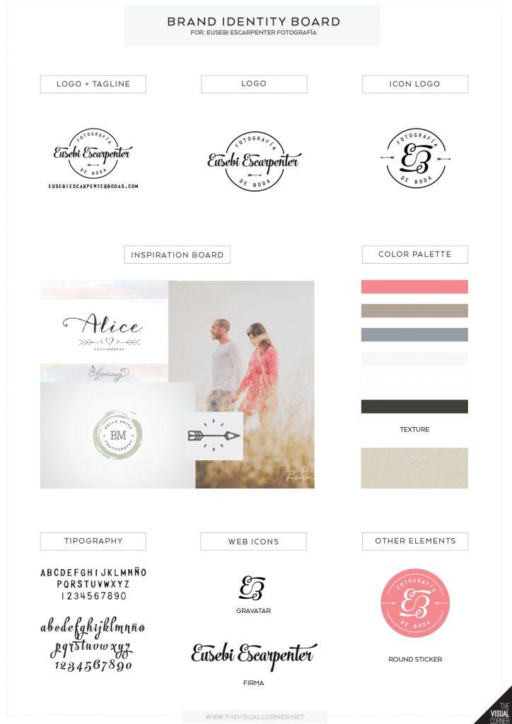 Diseño de logotipo e identidad para Eusebi Escarpenter fotografía de bodas por The Visual Corner